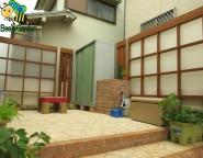 プラスG 角格子パネル デザイン格子 H:24 中庭目隠し バロックチーク色&シャイングレー 姫路市