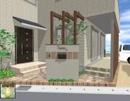 地新築外構。ヴィンテージレンガとプラスGで演出した玄関まわり