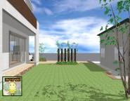 新築オープン外構。不揃いの形のヴィンテージレンガを使った玄関アプローチ