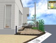 角地の新築外構。GL設定を外構デザインからアドバイス