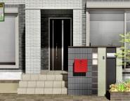 赤いポストとエバーアートボードの門柱。玄関ポーチを含む角地の新築外構!