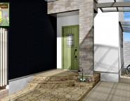 外構で考える・施工する玄関ポーチ。前面道路坂道の新築外構