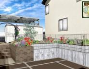 ガーデンリフォーム!バラアーチが迎える中庭とシンクタイプのレンガ立水栓 12/13NEW