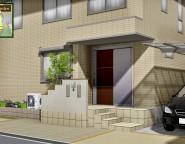 二世帯住宅の建て替え新築オープン外構!玄関ポーチは外構で! 12/13NEW