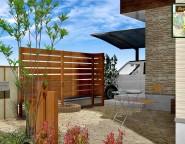角地の新築外構。エバーアートウッドを使った板塀とアートボードの門柱 12/13NEW