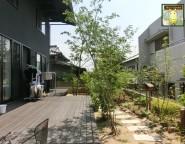 リビング&ウッドデッキから眺める、四季折々に楽しむ雑木の庭。